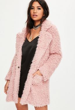Pink Fluffy Long Line Coat