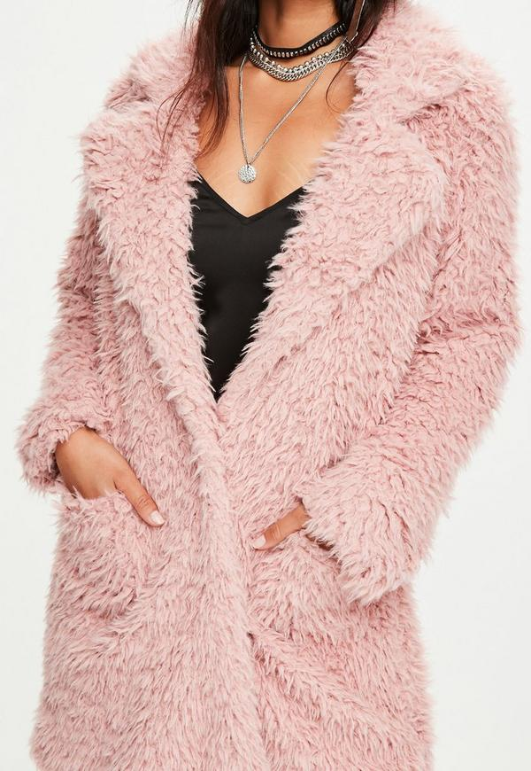 Pink Fluffy Long Line Coat | Missguided