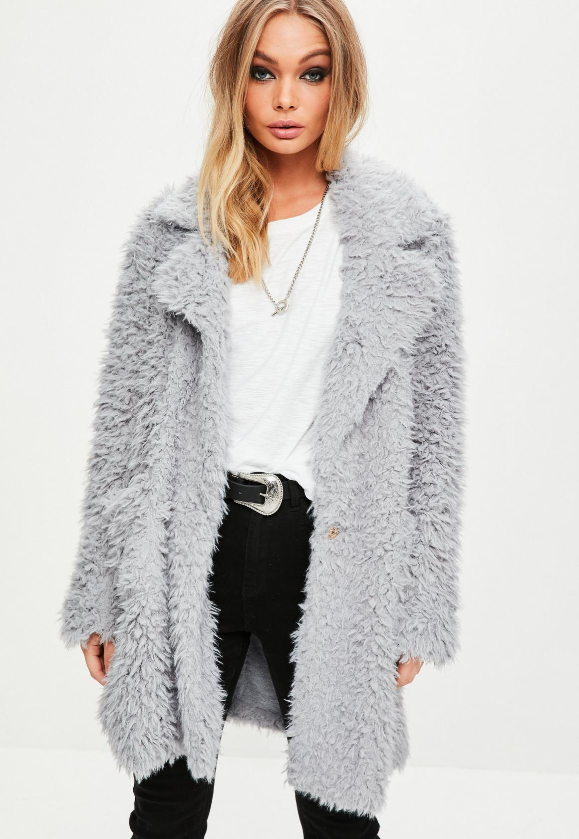 Grey Fluffy Long Line Coat | Missguided