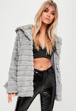 Grey Hooded Pelted Faux Fur Coat