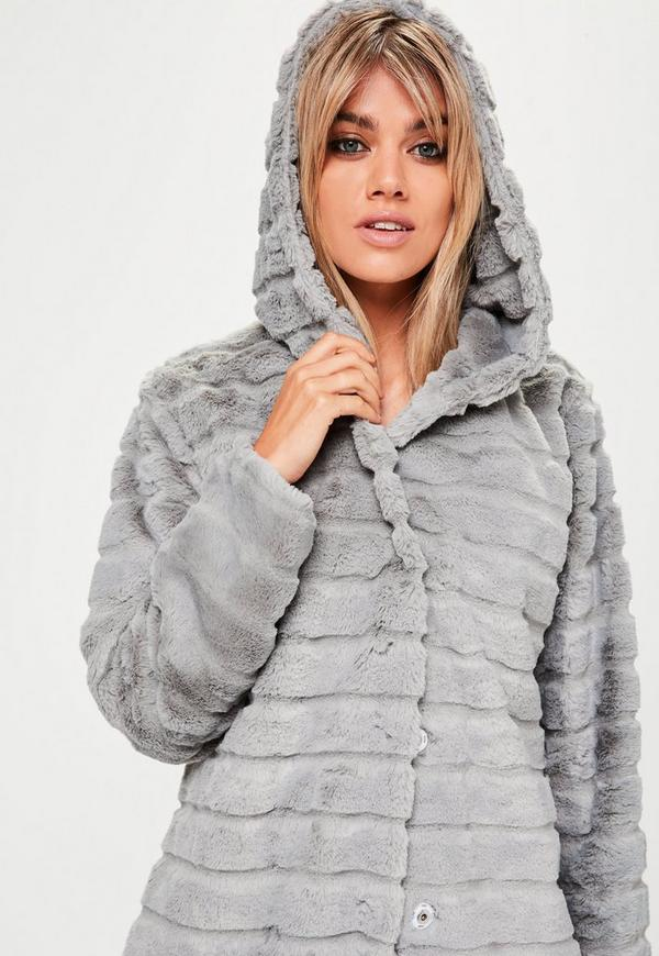 Grey Hooded Pelted Faux Fur Coat | Missguided