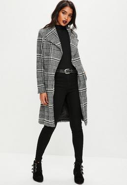 Black Checked Coat