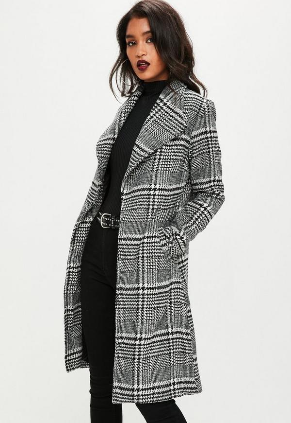 black checked coat missguided