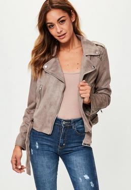 Grey Plaited Back Suedette Biker Jacket