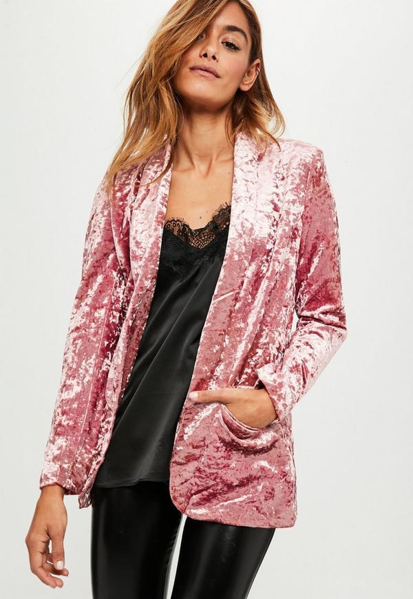 Pink Crushed Velvet Blazer Missguided