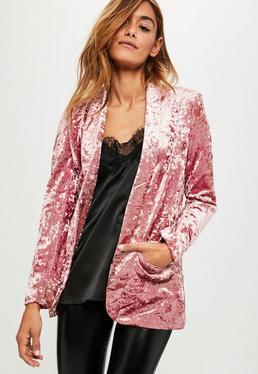 Pink Crushed Velvet Blazer