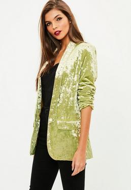 Gold Crushed Velvet Blazer