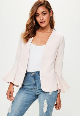 Pink Frill Sleeve Open Blazer