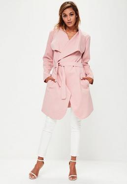 Pink Oversized Belted Waterfall Coat