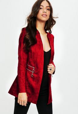 Red Collarless Zip Detail Faux Suede Jacket