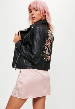 Black Faux Leather Embroidered Back Jacket