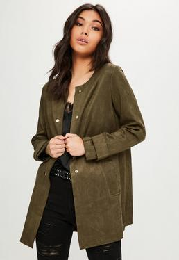 Khaki Faux Suede Collarless Jacket
