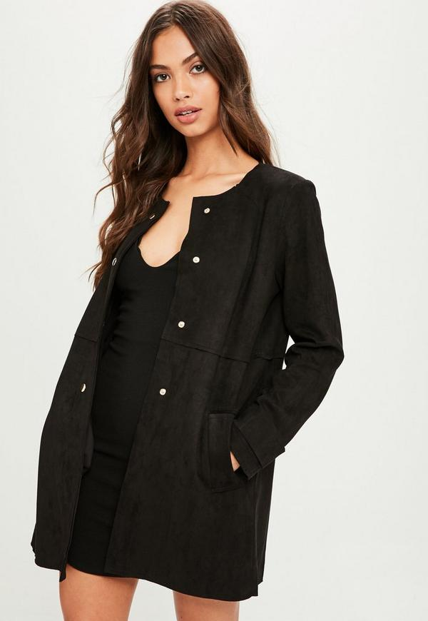 Black Faux Suede Collarless Jacket | Missguided
