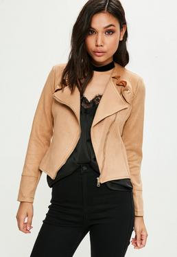 Brown Ruffle Front Faux Suede Jacket