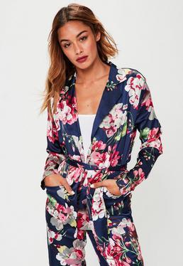 Navy Satin Floral Blazer