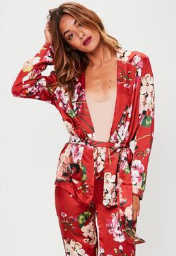 Red Satin Floral Blazer