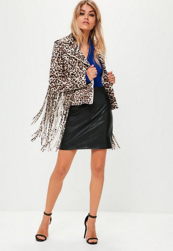 Cream Tassel Fringed Leopard Biker Jacket by Missguided