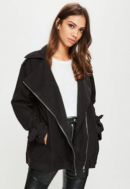 Black Oversized Biker Jacket