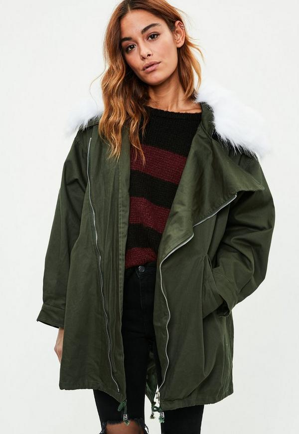Khaki Faux Fur Parka Jacket | Missguided