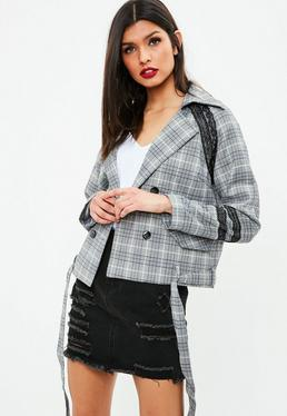 Grey Plaid Lace Trim Double Breasted Jacket