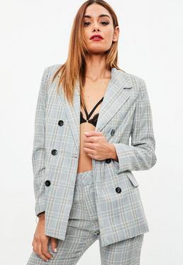 Grey Plaid Double Breasted Blazer