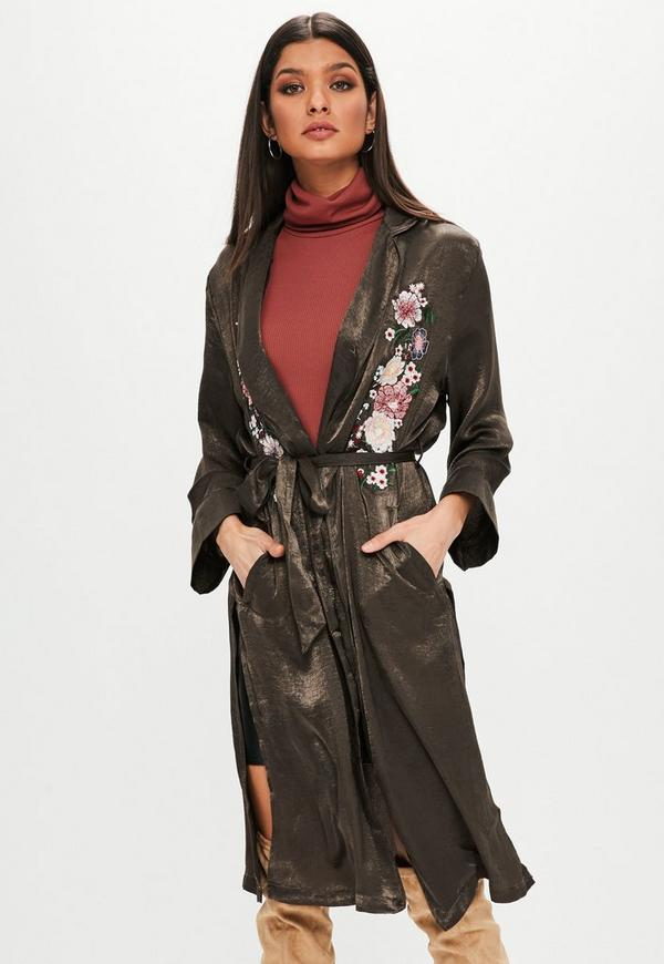Khaki Embroidered Satin Duster Jacket by Missguided