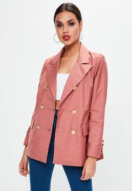 Pink Double Breasted Longline Blazer