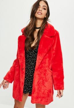 Red Long-line Faux Fur Coat