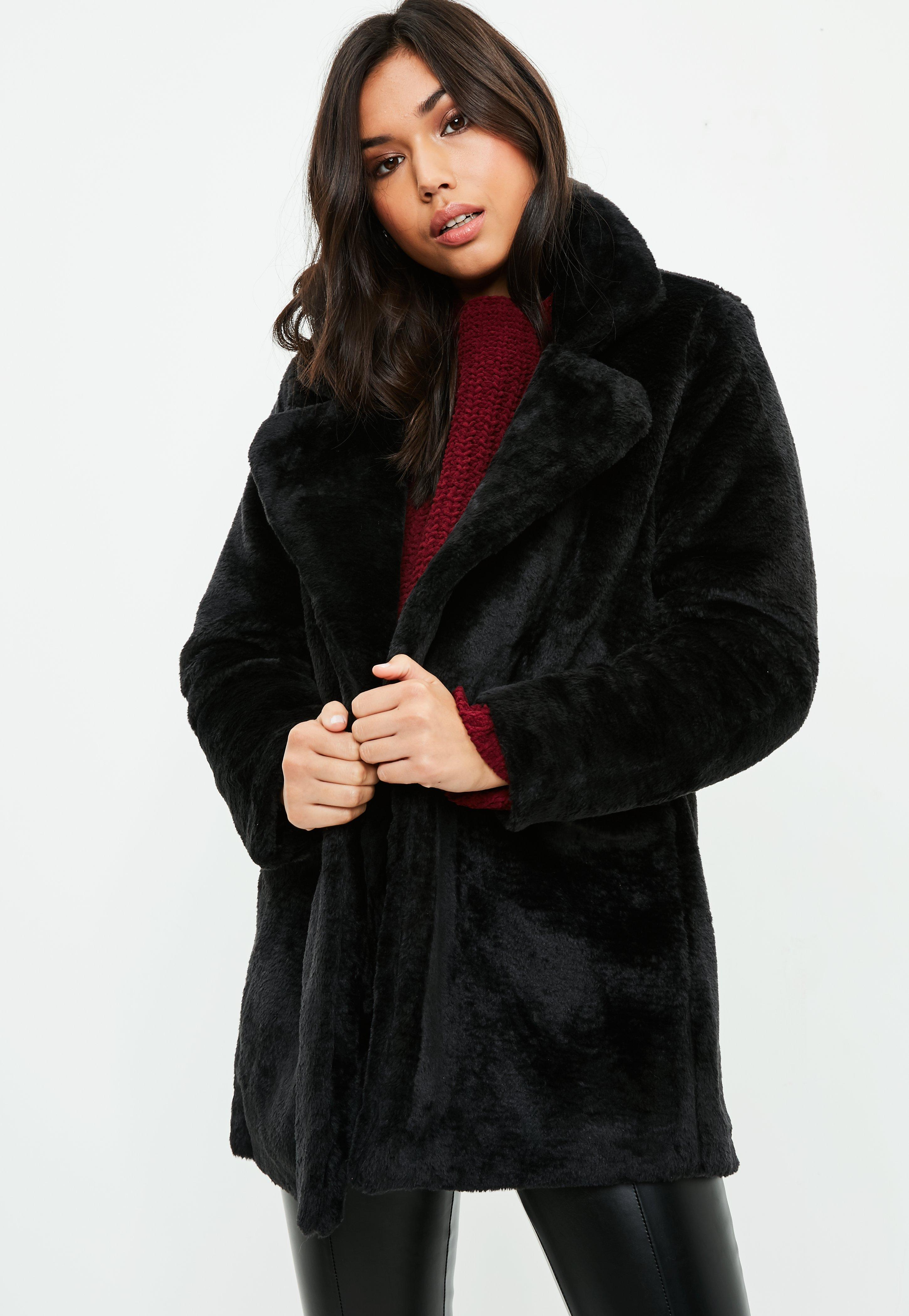 Black Faux Fur Longline Coat | Missguided