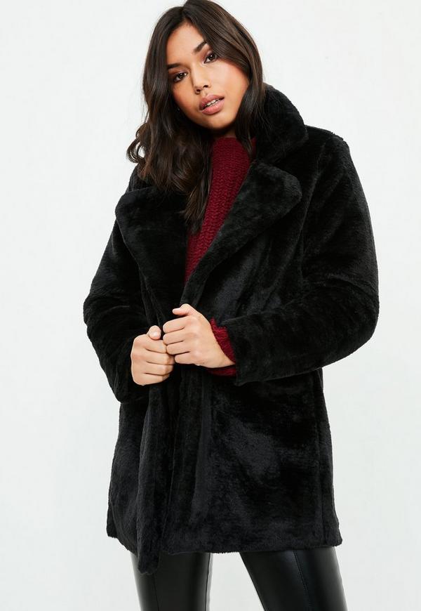 Black Faux Fur Longline Coat Missguided