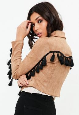 Brown Tassel Biker Jacket