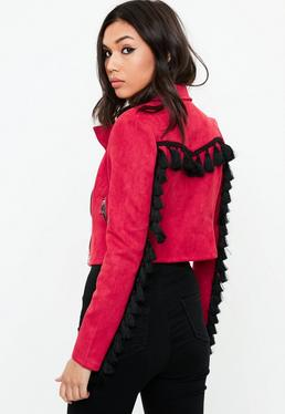 Red Tassel Back Suedette Biker Jacket