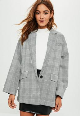 Grey Checkered Blazer