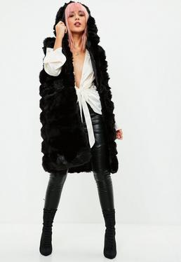 Black Hooded Pelted Vest