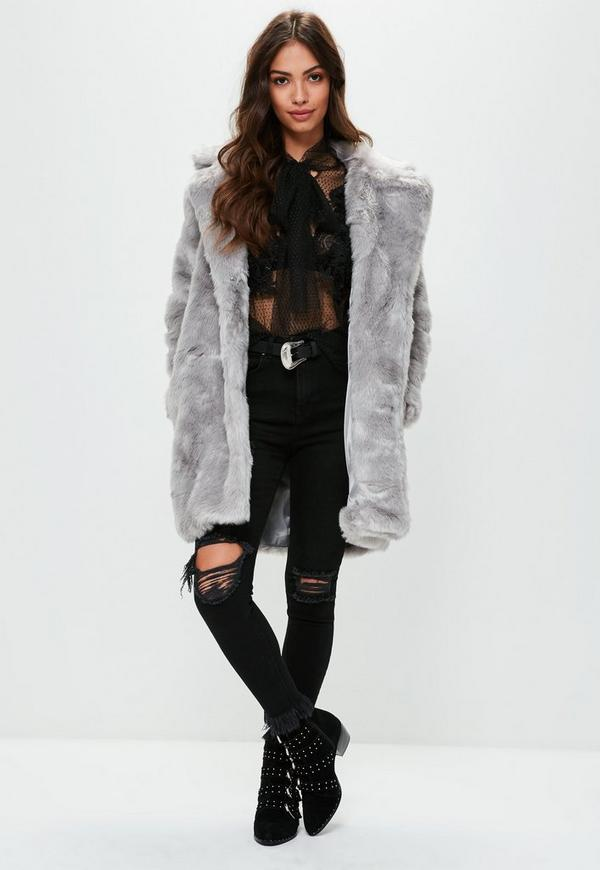 Grauer fake fur mantel