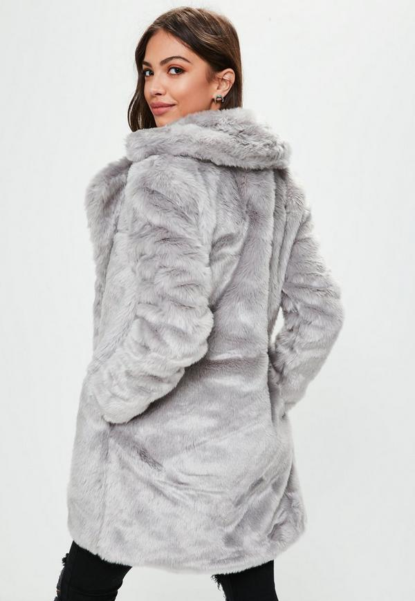 Grey Faux Fur Coat | Missguided