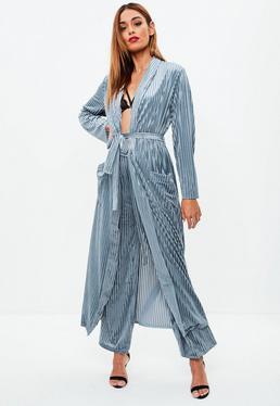 Blue Velvet Stripe Longline Duster Co Ord