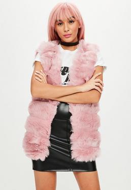 Chaleco de pelo sintético en rosa
