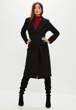 Black Faux Wool Maxi Coat