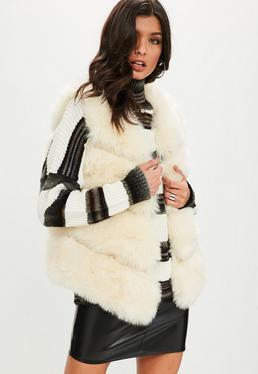 Cream Short Pelted Faux Fur Gilet