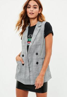 Grey Checked Sleeveless Jacket