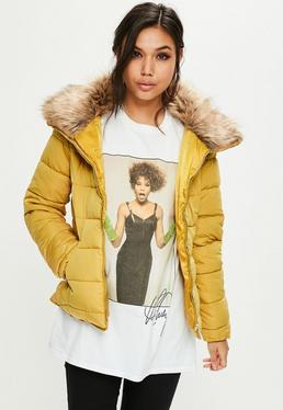 Yellow Hooded Padded Jacket