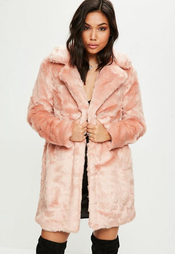 manteau rose en fausse fourrure missguided