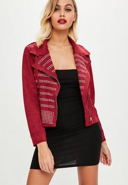 Red Faux Suede Studded Jacket