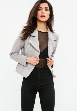 Grey Suedette Studded Jacket