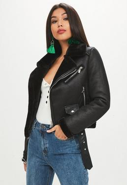 Black Aviator Belted Jacket