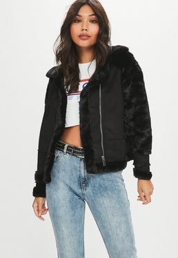 Black Aviator Longline Jacket