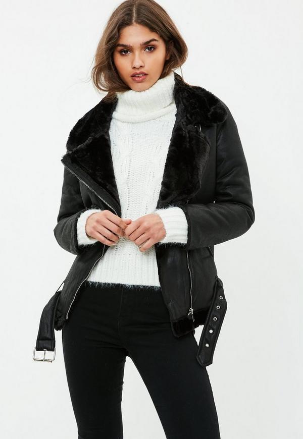 Black Faux Fur Aviator Jacket Missguided