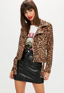 Leopard Print Biker Jacket