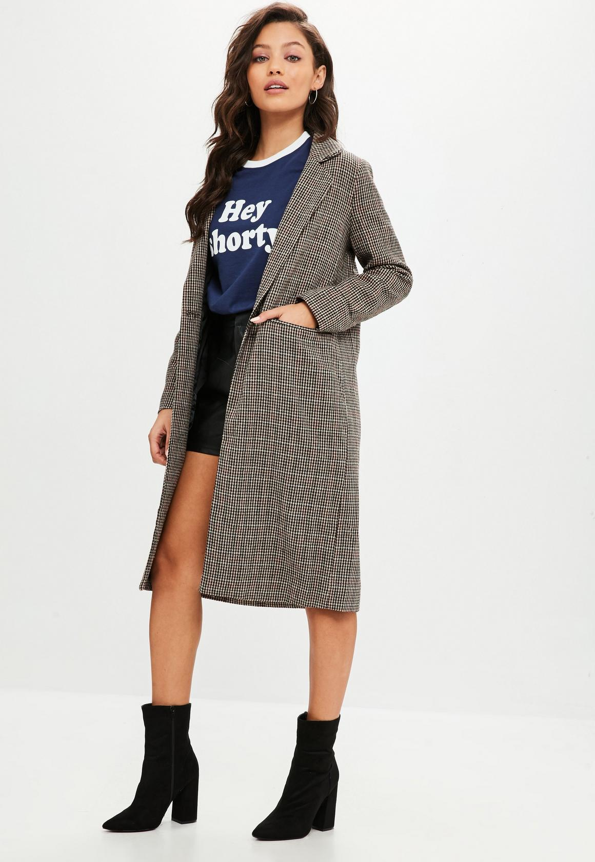 Camel Longline Checked Coat | Missguided